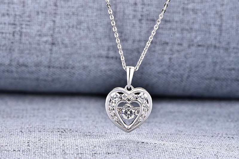 925 sterling silver pendant,heart pendant,dancing cz diamond pendant, sterling silver jewelry ,necklace for women,chain necklace NP30820A (5)