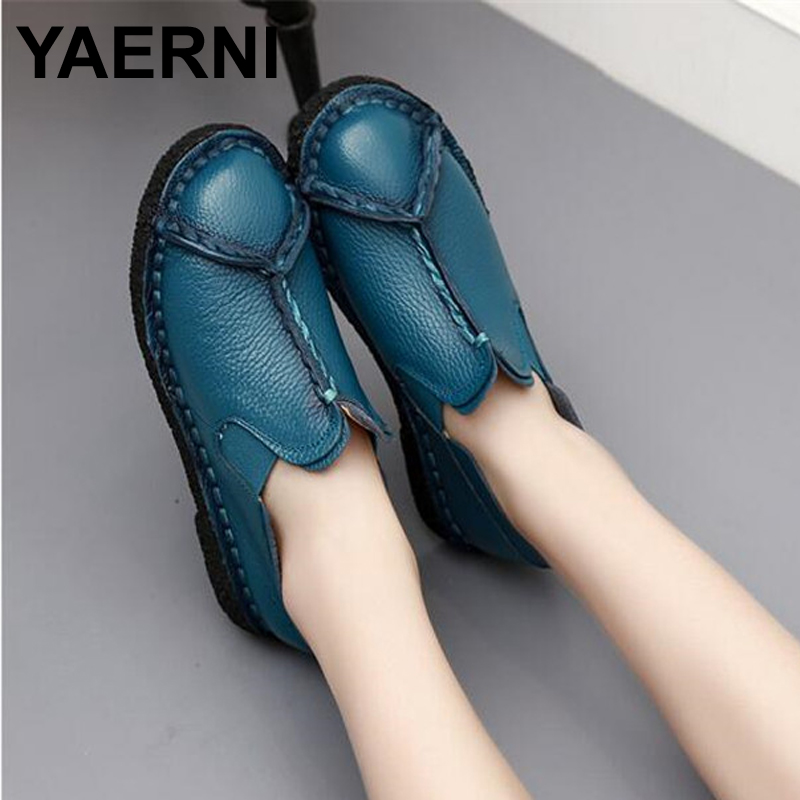 YAERNI women shoes leather Loafers mother casual fashion slip-on girls shoes breathable comfortable woman Dress Solid flats chilenxas 2017 new spring autumn soft leather breathable comfortable shoes flats men casual fashion solid slip on handmade