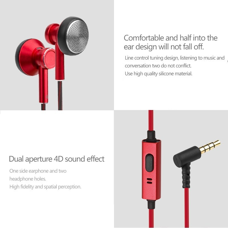 LCJCHDF A6 Metal Flat Head Plug Earphone In ear Earphone Gaming Headset Bass Earphones With Built in Microphone 3 5mm in Phone Earphones Headphones from Consumer Electronics
