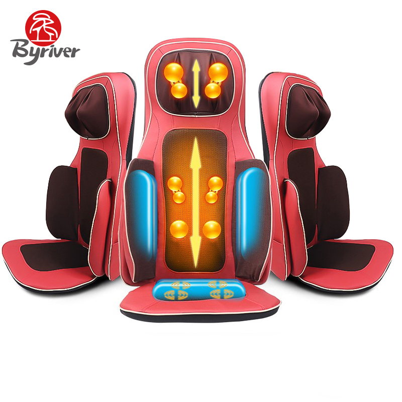 BYRIVER Electric Roller Kneading Shiatsu Vibration Tapping Massage Body Household Pillow Cushion Chair Device Massager tapping massage cushion 3d new massager whole body massage chair mat for sale