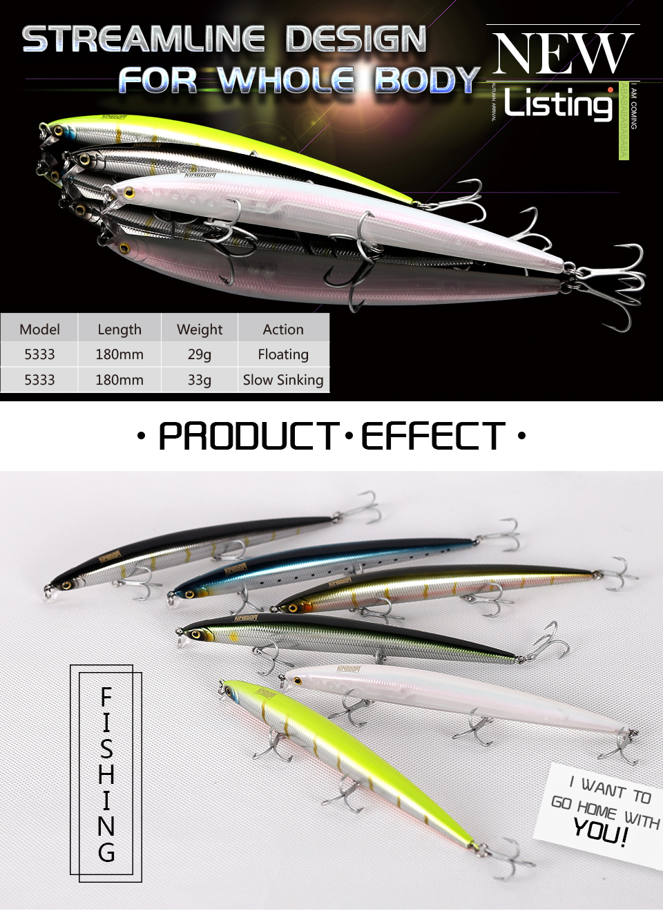 Kingdom Sea Fishing Lure 18cm 29g, 33g Floating And Slow Sinking Minnow Wobblers With VMC Hooks Fishing Tackle Model 5333-S (1)