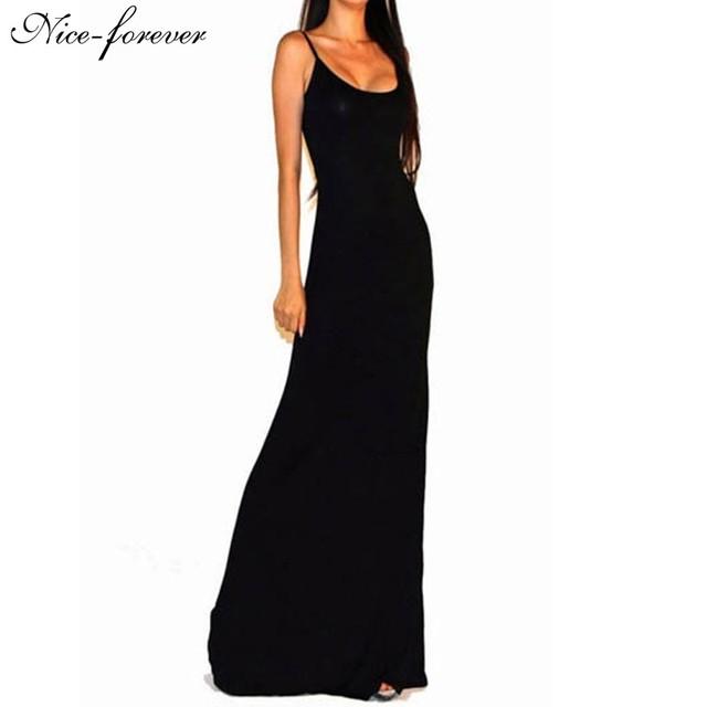 Nice-siempre en forma sólida y flare mujeres sexy summer dress correa de espagueti sin mangas backless largo desgaste del club vestidos maxis 114