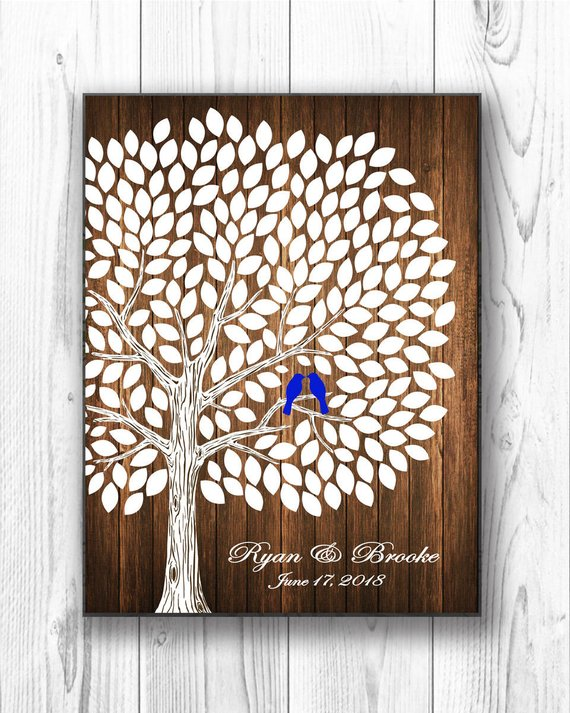 Rustic Personalized Canvas Wedding Guest Book Alternativecustom
