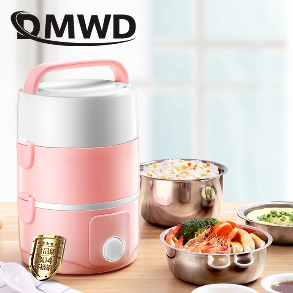 DMWD Portable Electric Rice Cooker 2L Food Heating Container Lunchbox 3 Layers Dinnerware Cooking Steamer Lunch Box Warmer EU US dmwd mini rice cooker insulation heating electric lunch box 2 layers portable steamer multifunction automatic food container eu