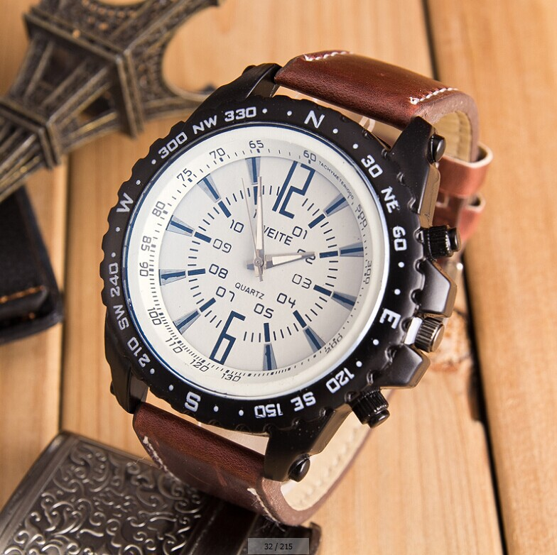 Hot Sale Men Casual Sport Quartz Watch Mens Watches Top Brand Luxury Quartz-Watch Leather Strap Military Watch Wrist Male Clock купить недорого в Москве