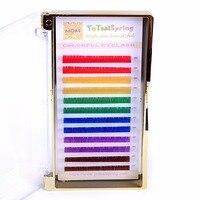 0.07 Rainbow Wimpers 6 kleuren kleurrijke wimper extensions rood geel groen blauw paars bruin