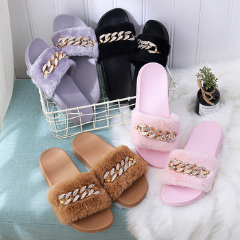 STONE VILLAGE 2019 New Women Slippers rhinestone Chain Fur Slippers Shoes solid Slip on flat Fur Fluffy Sliders shoes woman 5