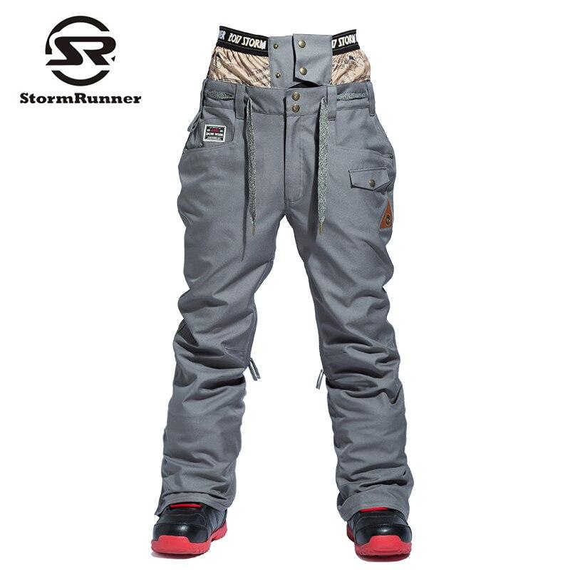 Водонепроницаемый зимние лыжные брюки Для мужчин теплые сноубордические брюки горнолыжные брюки с поясом Открытый спортивные брюки высок