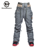 Waterproof Winter Ski Pants Men Thicken Warm Snowboard Pants Ski Trousers with Belt Outdoor Sports Trousers High