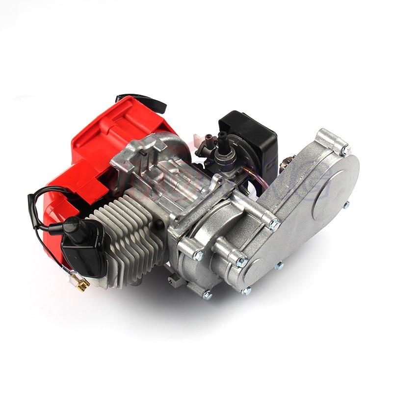 JXMOTONG 49CC 2 Stroke Motor with T8F 14t Gear Box Easy to Start Pocket Bike Mini Dirt Bike Engine DIY Engine 49cc 2 stroke pocket mini dirt bike atv engine with gear box 14t t8f sprocket electric star version handle bar throttle cable