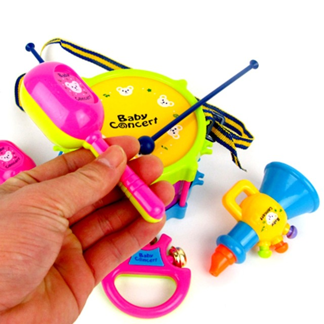 5pcs/set Musical Toy Set Roll Drum Musical Instruments Band Kits Kids Early Educational Toy Gift Baby Grasp Hand Bell Music Toy 3