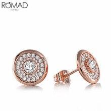GS Earrings For Women Rose Gold Rhinestone Earring Zircon Stone Round Shaped Austrian Crystal Earrings Wedding Jewelry Girl R4 недорого