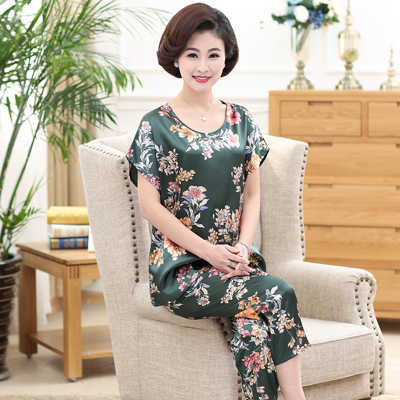 Middle-aged Women Nightwear 2019   Pajamas   Adult Silk Print Plus Size Women Sleepwear   Set   Long Pant Cute Silk Mother   Pajamas     Sets
