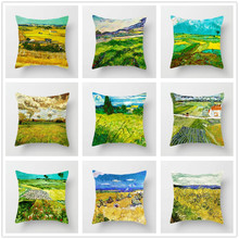 Van Goghs Field Cushion Cover Peach Skin Oil Painting Countryside Style Decorative Pillowcases for Sofa Bed Home Decor 45x45cm