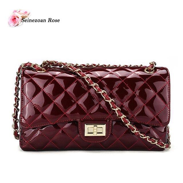 Mulheres de luxo Bolsas de Couro de Patente Das Senhoras Bolsas Mensageiro Satchel Bags Famosa Marca Designer Sacos de Treliça de Diamante bolsa