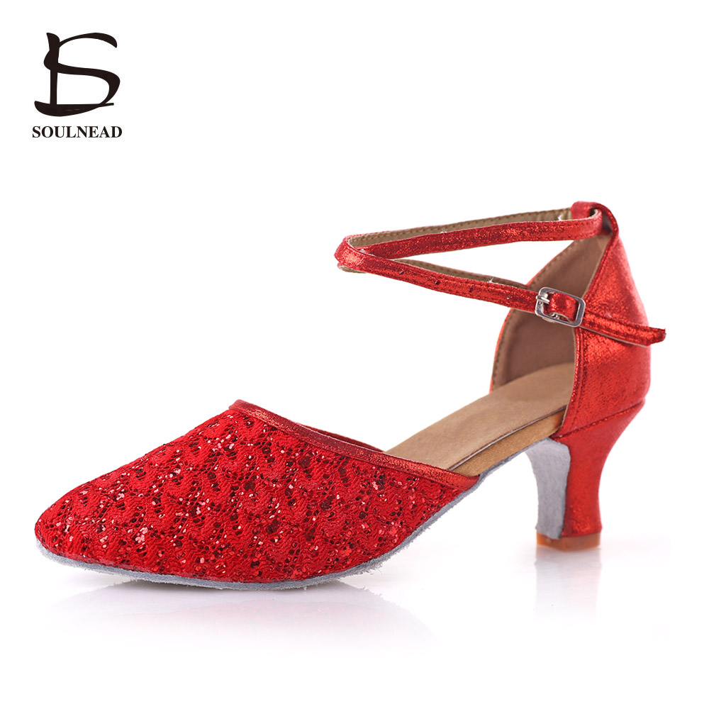 Adult Ladies Latin Dance Shoes Red Black Hollow High-heeled 5/7cm Dancing Shoes For Women Ballroom Tango Salsa Tap Dance Shoes