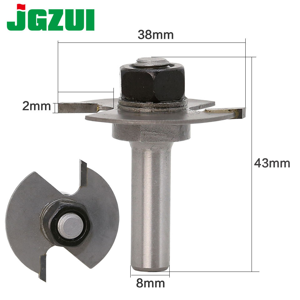 1pc 8mm Shank T Type Bearings Wood Milling Cutter Industrial Grade Rabbeting Bit Woodworking Tool Router Bits For Wood