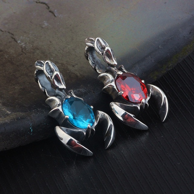 KJJEAXCMY boutique jewelry  S925 pure silver inlay blue crystal scorpion king pendant men and women retro pendant 2