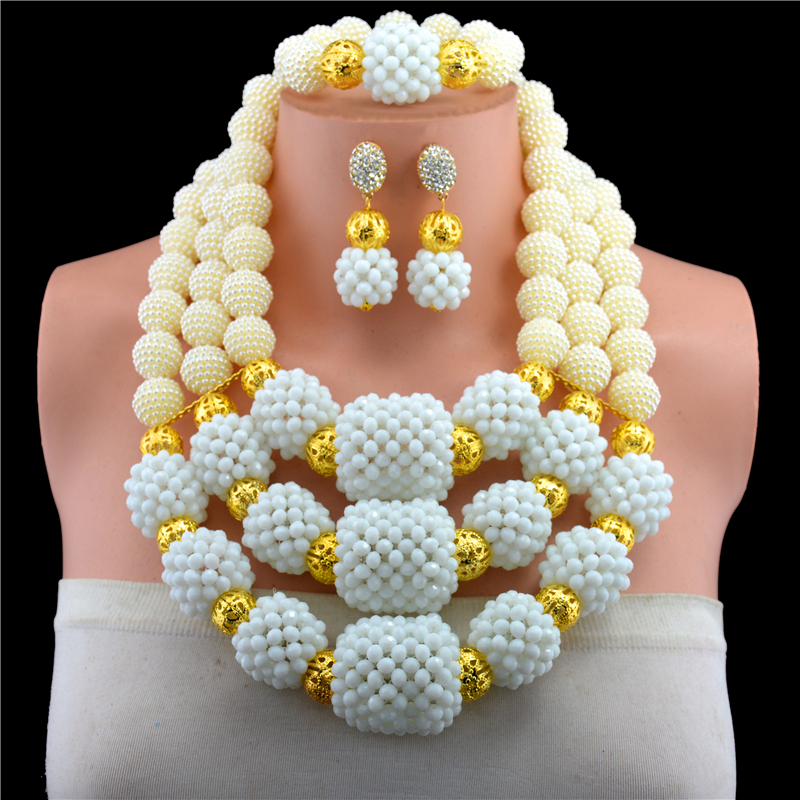 Gorgeous White Crystal Beaded African Jewelry Necklace Set Gold-color Pendant Necklace Earrings Set for Brides Free shipping orange morganite stylish jewelry set for women white zircon gold color rings earrings necklace pendant bracelets