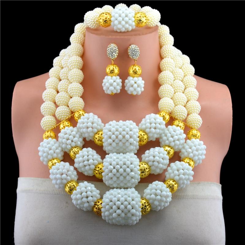 Magnifique collier de bijoux africains en cristal blanc perlé ensemble de boucles d'oreilles collier pendentif couleur or pour les mariées livraison gratuite