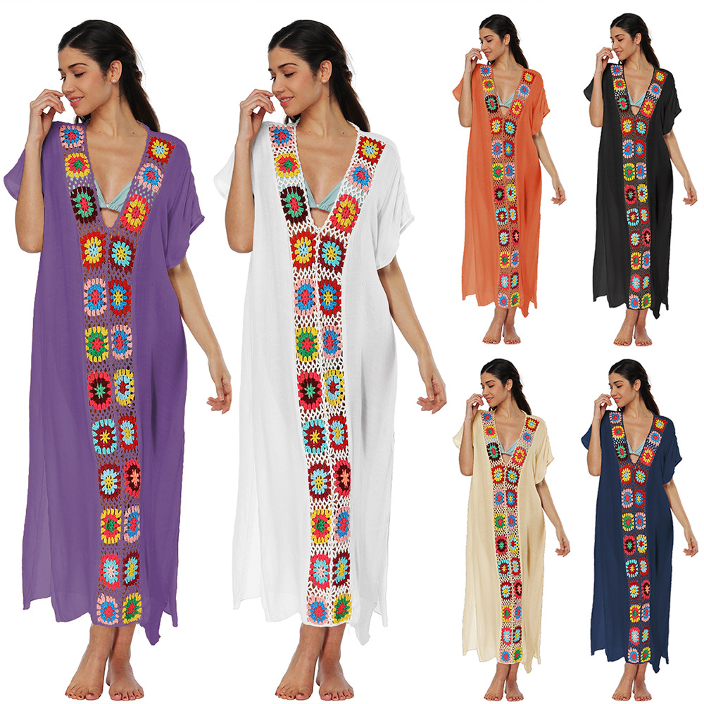 Saida De Beach Womens 2018 Cover Up The Swimsuit Bath Dress Robe Ups Summer Tunics Original Product Cotton Cloth Joining Smock