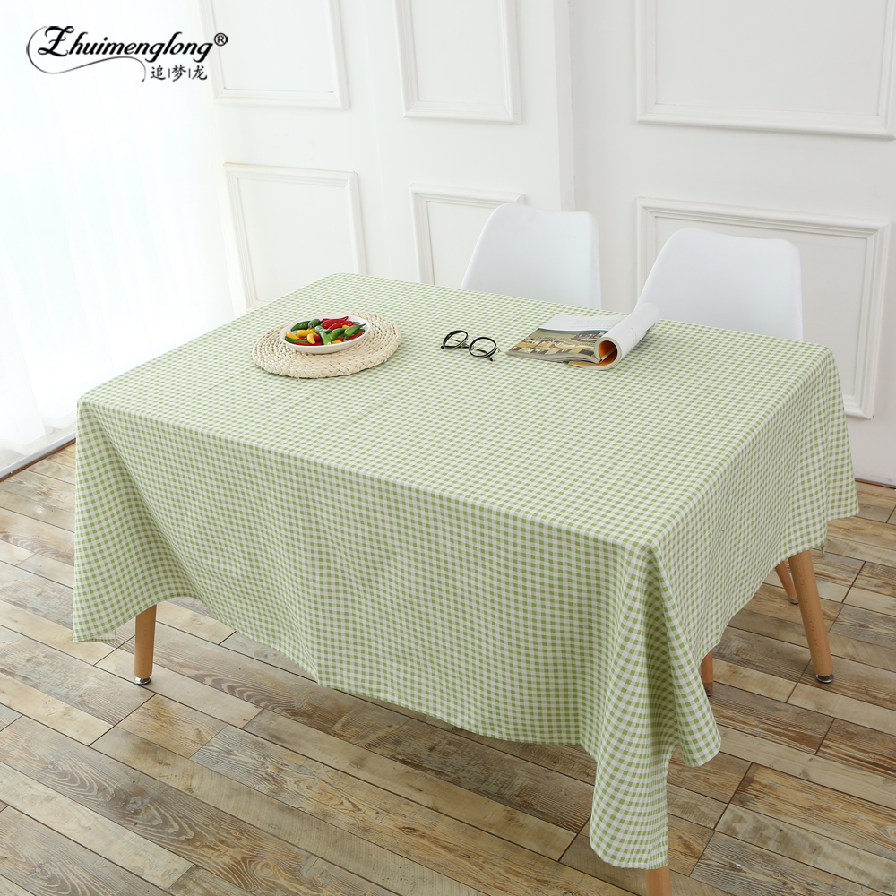 Zhuimenglong Europe Waterproof Table Cloth Grid Plastic Tablecloth No-clean Oilproof Dining Table Dust Cover for Party Home