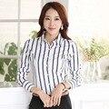 Outono coreano senhora Chiffon Plus Size S-3XL mulheres manga comprida Casual listrado blusa