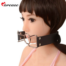 Morease Adult Games Mouth Gag Leather Open Mouth Belt O Ring Pleasure Flirting Fetish Erotic Slave Sex Products Toys for Women