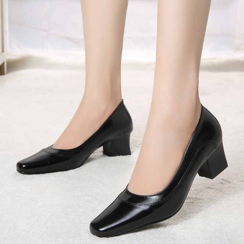 Women Pumps Genuine Leather Med Heel Shoes For Office Dress 2016 High Quality Lady Size 319 A4 In S From