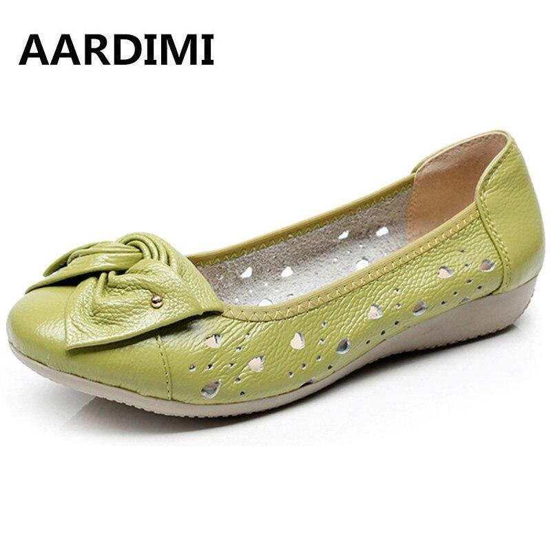 AARDIMI Mocasines Zapatos de Cuero Genuinos de Las Mujeres Sólido Mujeres de Los