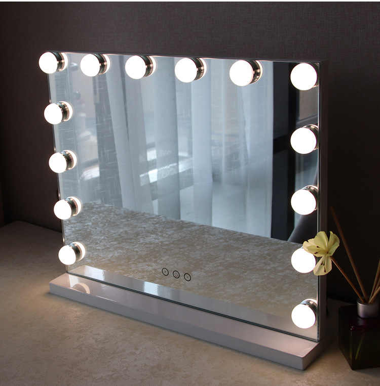 Retail Frameless Vanity Mirror With Light Hollywood Makeup Lighted 3 Color Cosmetic Adjule Touch Screen
