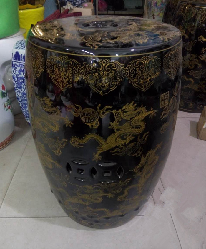 Black Dragon Jingdezhen Porcelain Garden Stool Ceramic
