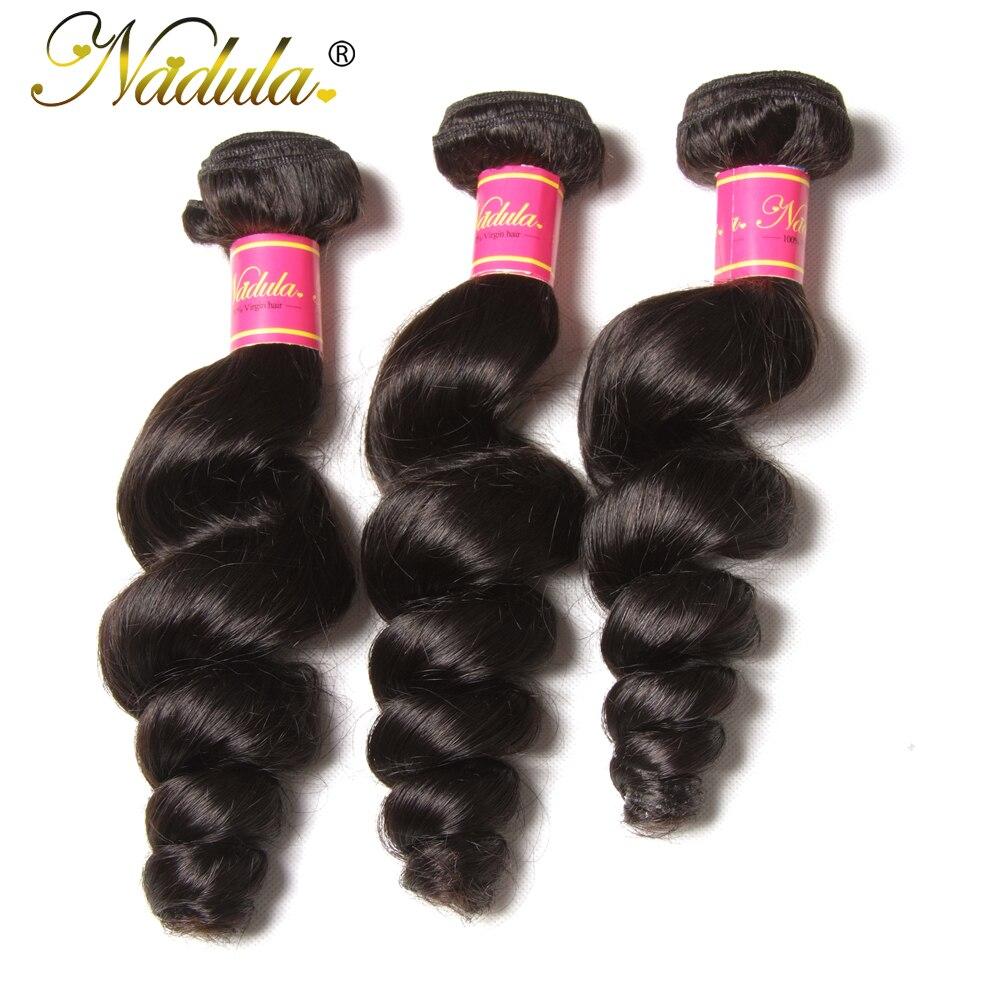 Nadula Hair 3piece/Lot Brazilian Loose Wave Bundles 16-26inch Hair Weave Bundles Natural Color Free Shipping Remy Hair