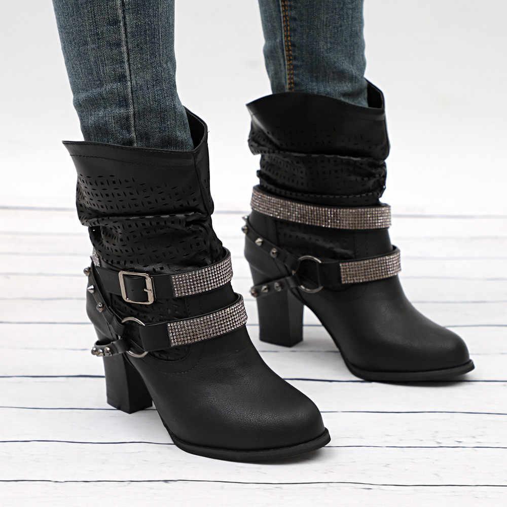 Artı Boyutu 35 ~ 43 Ayakkabı Kadın Sonbahar Kış Oymak Çizmeler Bayanlar Topuk Yarım Martin Çizmeler Kadın Boots zapatos de mujer