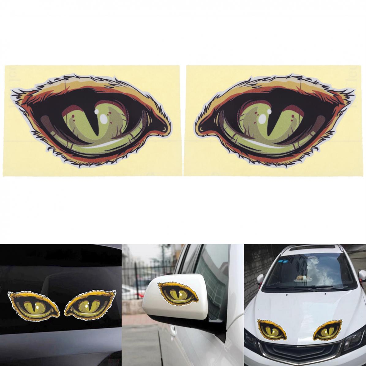 2pcs 12 x 7CM 3D Eye Pattern Strong Adhesion Reflective Material Creative Funny Stereoscopic Car Sticker Accessories