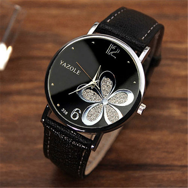 Famous Fashion Leather Strap Band Round Flower Women Watches Quartz Wristwatches