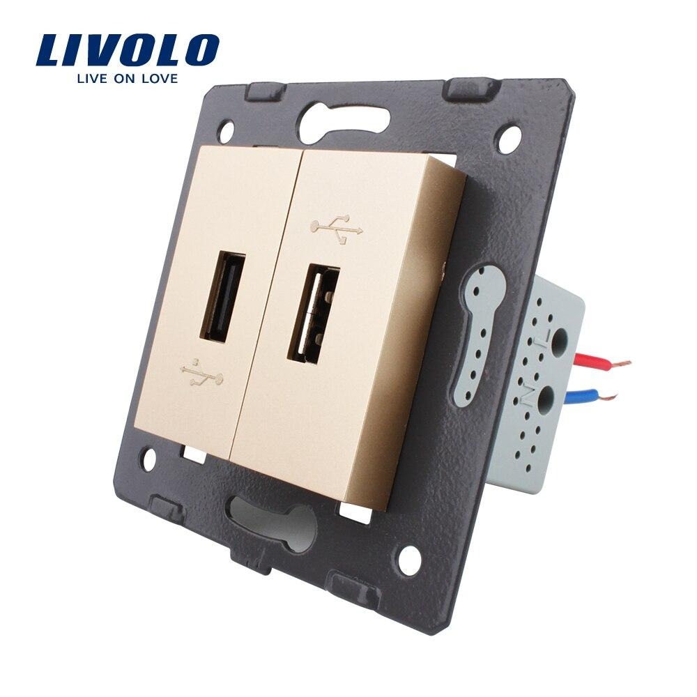 Livolo EU  Standard DIY Parts Plastic Materials Function Key, Golden Color 2 Gang  For USB Socket,VL-C7-2USB-13