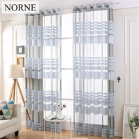 NORNE Decorative Semi Jacquard Sheer Curtains Tulle Voile Panels For Windows Living Room Kitchen Bedroom Rooms