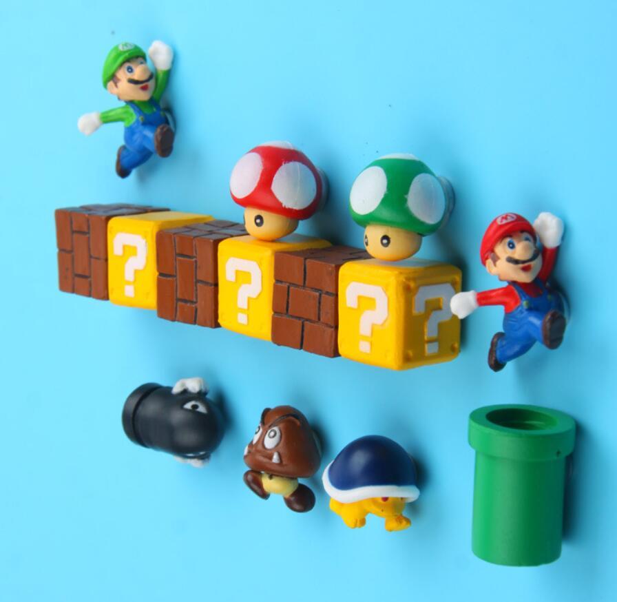 10PCS Super Mario Magnets Fridge Figurines Toys Set Decorative Luigi Mushroom Bomb Toad Refrigerator Bowser Bricks Building Toys