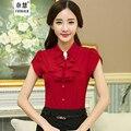 Vendas quentes Blusas 2016 Nova Moda das Mulheres Camisa Escritório Lapela Puff OL Slim-Manga Curta Business Casual camisa Blusa Mulheres