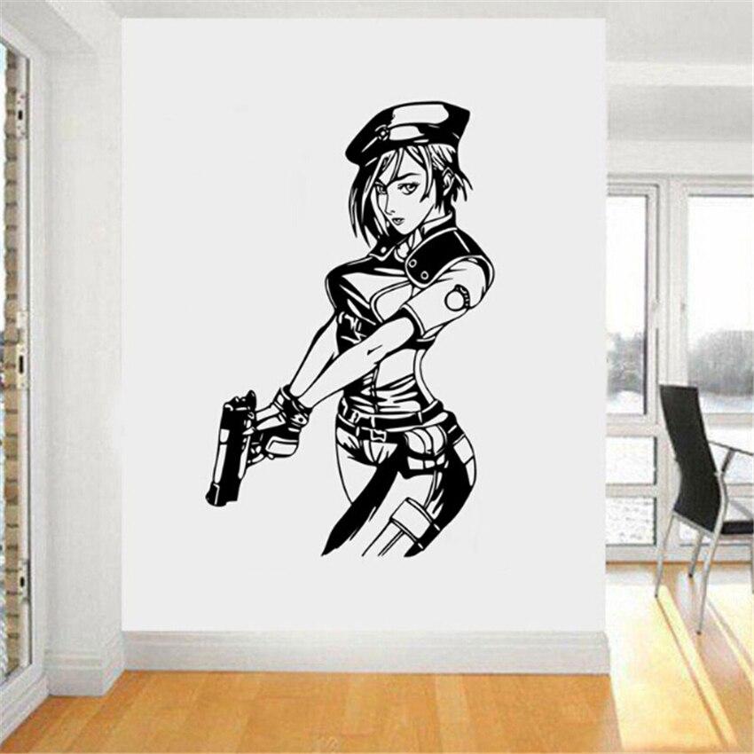 Mode Jill Valentine Resident Evil Spiel Manga Amin Decor Vinyl Wandaufkleber Kunst Wandbild schlafzimmer wohnzimmer Wohnkultur D204
