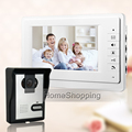 "FREE SHIPPING Brand 7"" Color Video Intercom Door Phone System 1 White Monitor 1 Weatherproof Doorbell Camera In Stock Wholesale"