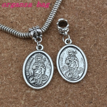 100pcs/lot Dangle Ancient silver ST. MARTHA religion Charm Big Hole Beads Fit European Bracelet Jewelry 16.2x38mm A-249a