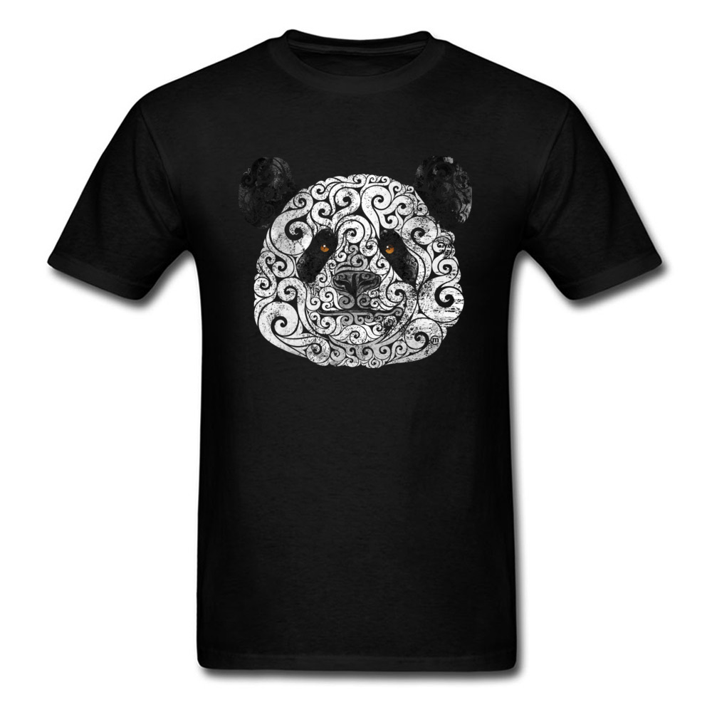 Swirly Panda Cotton Fabric Party Tops T Shirt Classic Short Sleeve Youth T Shirts Casual Father Day Tee-Shirt Crew Neck