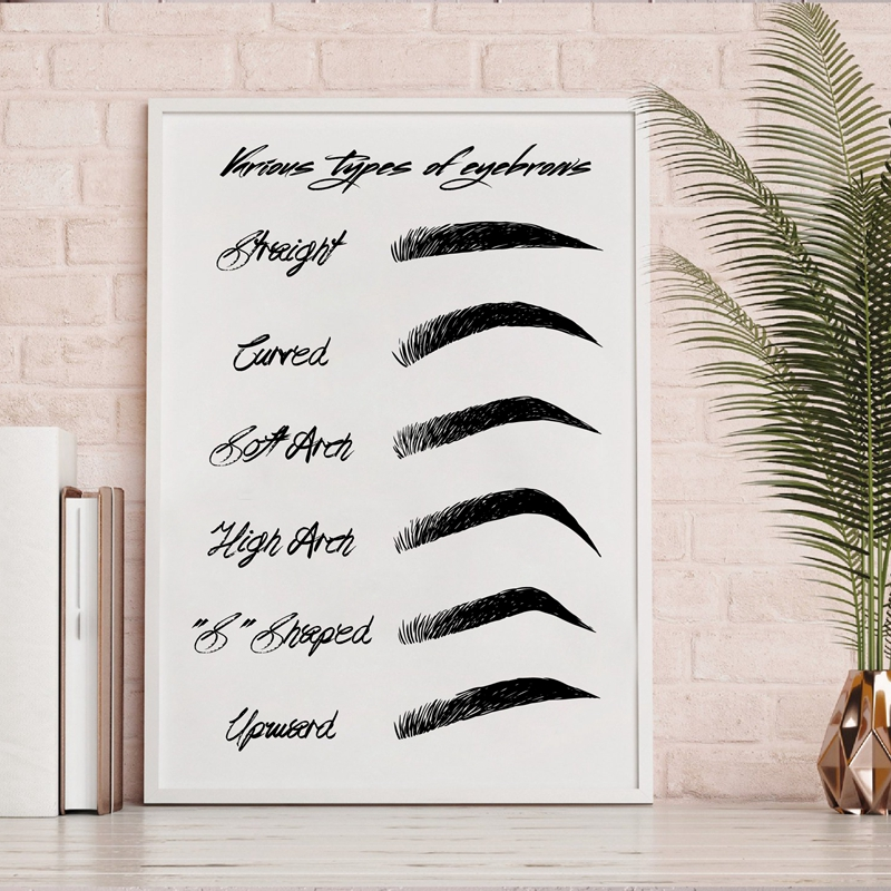 HTB1LpIEaMaH3KVjSZFjq6AFWpXaO Eyebrow Shapes Print Makeup Wall Art Canvas Painting Black and White Fashion Poster Make Up Beauty Wall Picture Girls Room Decor