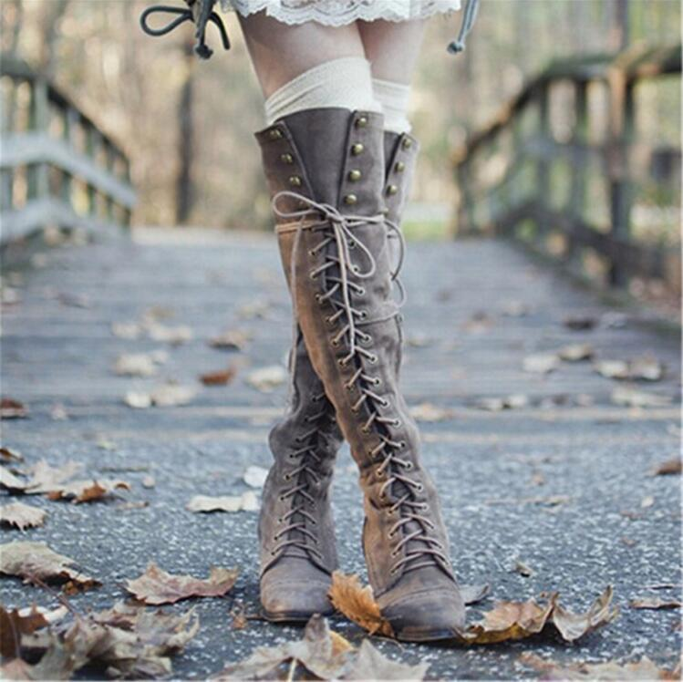 2018 Mid Heel Grey Black Leather Cowboy Women Boots Retro Autumn Winter Boots Lace Up Knee High Boots Shoes Woman Botas Mujer недорго, оригинальная цена