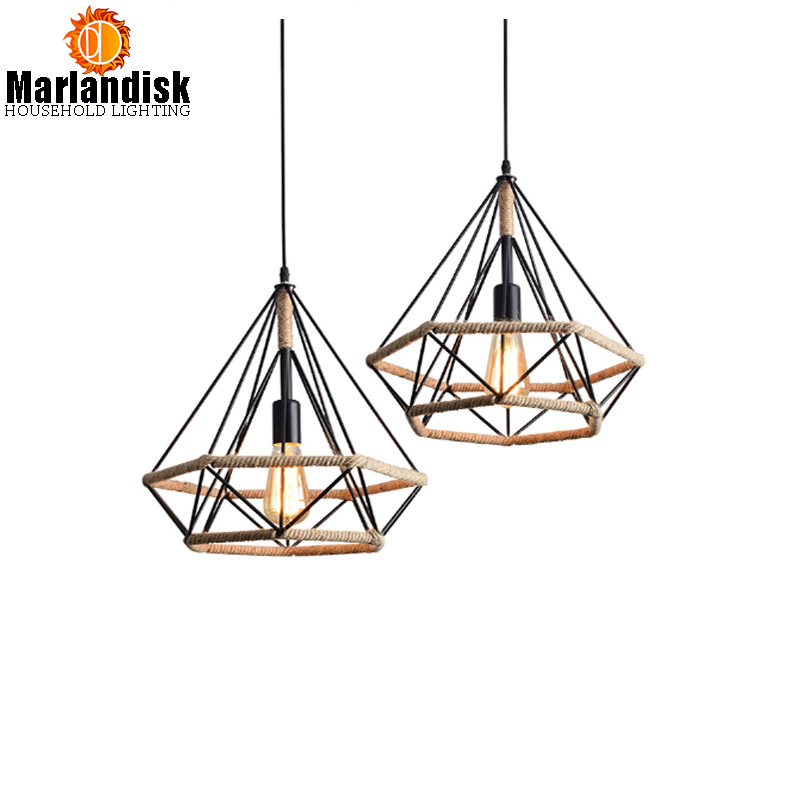 E27 Industrial Vintage Diamond Shape Pendant Lamp Creative Retro Metal Hemp LED Rope Hanging Light For Dining Room Coffee Shop american industrial hemp rope iron crystal pendant lights creative personality living room coffee shop 75cm retro pendant lamps