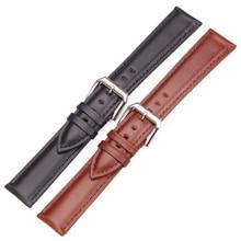 Watch Band Strap Genuine Leather 19mm 20mm 21mm 22mm 24mm Black Brown Replacement Watchbands Steel Silver Pin Buckle цена в Москве и Питере