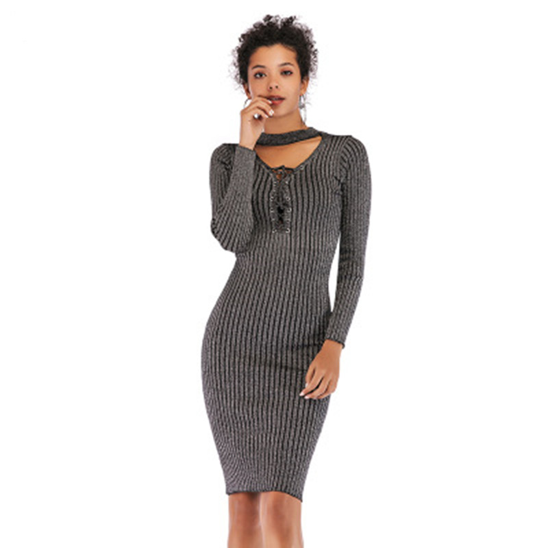 Vintage Halter Women Spring Knitted Dress Sexy V-neck Slim Grey Color Lady Vestidos