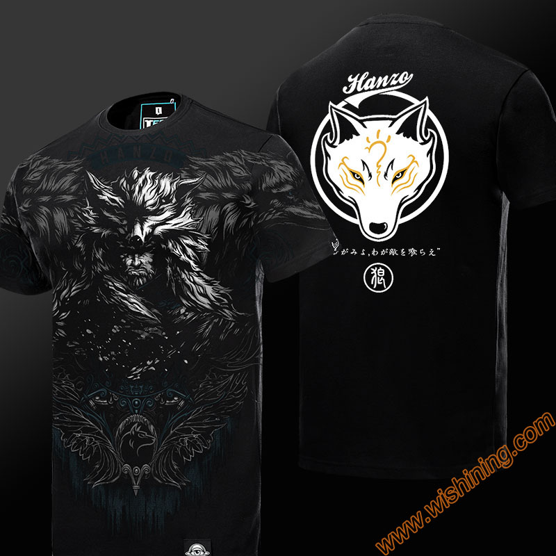 Limited Editon 3D OW Hanzo T-shirt Short Sleeve Black Mens Tshirt Mens Boys Plus Size 3XL 4XL OW Hanzo Wolf Cosplay T-shirts